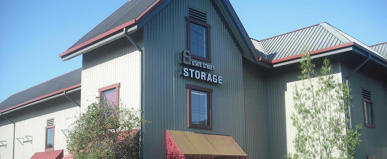 main entrance to State Street Storage and sign